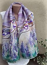 Zaodetá levanduľou-hodvábny maľovaný šál