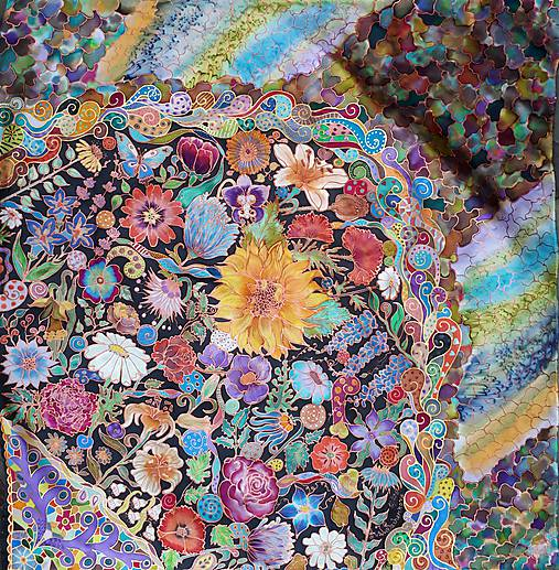 V nočnej záhrade- hodvábna maľovaná šatka
