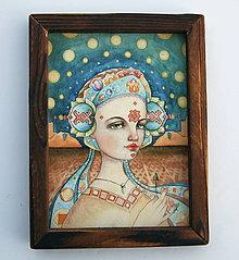 Obrazy - Dievča s kľúčikom, Art Print v rámiku - 10217666_