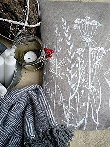 Úžitkový textil - Ľanový vankúš zimné trávy - 10218336_
