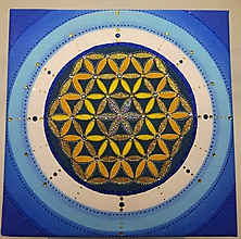 Obrazy - Kvet života - piesková mandala - 10218072_