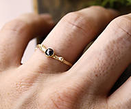 Prstene - Větvičkový s černým diamantem, žluté zlato - 10217212_