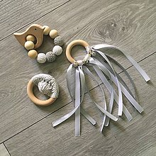 Hračky - Set hrkáliek a hryzátka (bielo-šedá) - 10217563_
