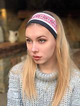 Ozdoby do vlasov - Termo čelenka čierno biela folklór - 10216561_