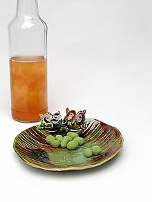 Nádoby - miska zelená sova - 10218387_