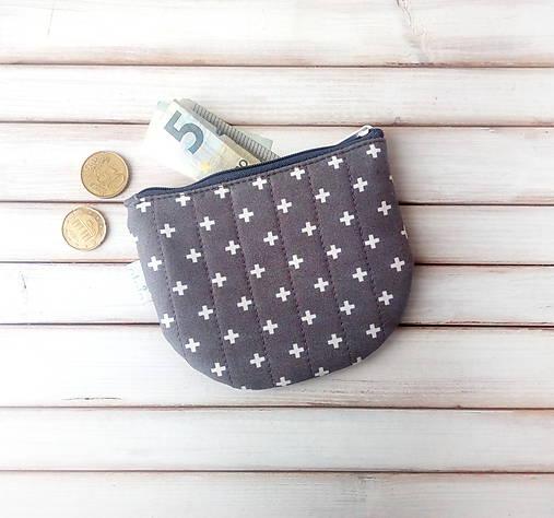 Peňaženka Krížiky na šedej (s koženkou)