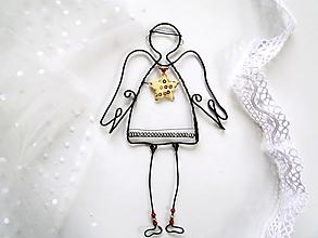 Dekorácie - anjel s hviezdou - 10218378_