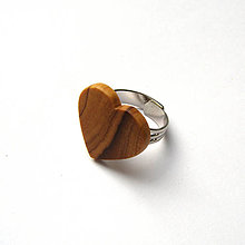 Prstene - Olivovníkové srdiečko na prštek - 10217487_