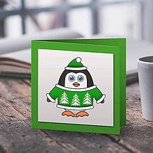 Papiernictvo - Tučniačik v svetríku (vianočná pohľadnica) - les - 10219241_