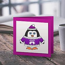 Papiernictvo - Tučniačik v svetríku (vianočná pohľadnica) - zvončeky - 10219271_
