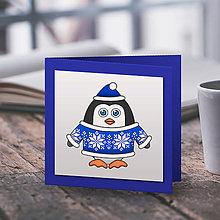 Papiernictvo - Tučniačik v svetríku (vianočná pohľadnica) - snehové vločky - 10219274_