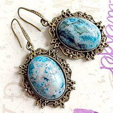 Náušnice - Antique Bronze Blue Variscite Earrings / Náušnice s modrým jaspisom v bronzovom prevedení /1311 - 10220734_