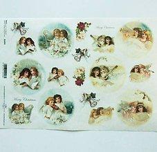 Nezaradené - Ryžový papier na decoupage -A4-R1492- Vianoce, anjelky - 10220141_