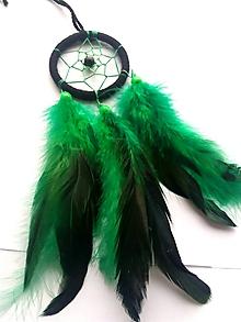 Dekorácie - Lapač snov zeleno - čierny - 10220596_