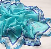 Šatky - Ľadové kvety..hodvábna šatka - 10220549_