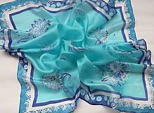 Šatky - Ľadové kvety..hodvábna šatka - 10220551_