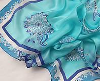 Šatky - Ľadové kvety..hodvábna šatka - 10220558_