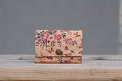 Peňaženky - Korková peňaženka S kvetinová - 10223185_