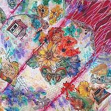 Šatky - Koláž zo života- hodvábna maľovaná šatka - 10220082_