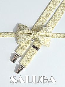 Doplnky - Pánsky motýlik a traky - VIANOČNÝ SET - zlatý vzor - maslový - 10221332_