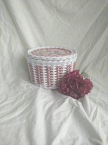 Košíky - Bieloružový oválny košíček - 10220509_