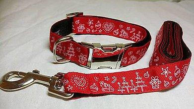 Pre zvieratká - Set obojok +vodítko  červené vianoce - 10221465_