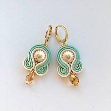 Náušnice - Ručne šité šujtášové náušnice / Soutache earrings - swarovski (Mery - mentolová/béžová) - 10221128_