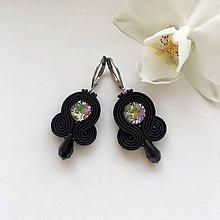 Náušnice - Ručne šité šujtášové náušnice / Soutache earrings - Swarovski®️crystals (Panka - paradise sunshine/ čierna - mini) - 10221310_