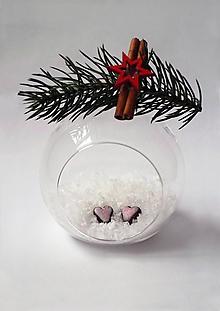 Náušnice - Vianočné náušnice - Medovníkové srdiečka   napichovacie   malé - 10222775_