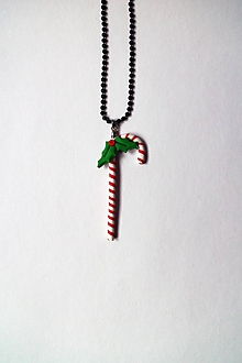 Náhrdelníky - Vianočný náhrdelník - Lízatko s imelom   veľký - 10223263_