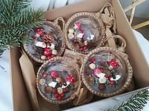 Dekorácie - Vianočné gule 4 ks sada muchotrávky - 10223231_