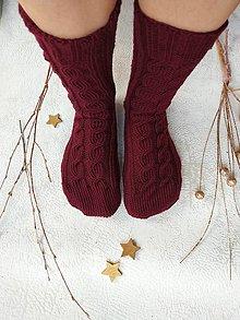 Obuv - Pletené MERINO ponožky (bordové) - 10221659_