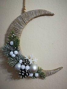 Dekorácie - Vianočný polmesiac strieborny - 10222492_