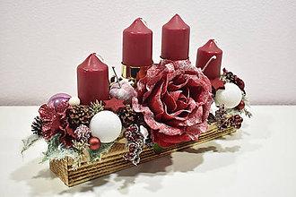 Svietidlá a sviečky - Adventný svietnik: Zamrznutá ruža 30421 - 10221286_