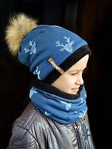 Detské súpravy - Zimný set Obojstranný s Odopínacím brmbolcom Jelene modrá - 10221827_
