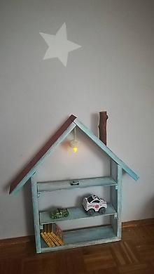 Nábytok - Drevený domček ako polička-p - 10221852_