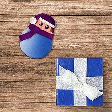 Magnetky - FIMO vianočná guľa magnetka - chlapec - 10220095_