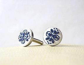 Šperky - Folk manžetové gombíky - modrý ornament - 10224174_