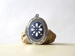 Náhrdelníky - Folk modrý - medailón - 10224784_