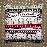Úžitkový textil - Vianočný vankúš so sobmi - 10223859_