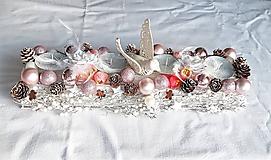 Dekorácie - bielo ružový svietnik - 10225462_