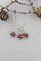 Sady šperkov - červený koral,hematit náušnice s príveskom - 10225290_