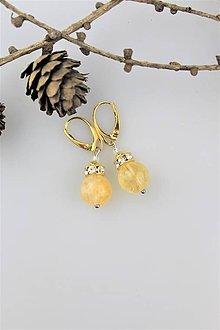 Náušnice - striebro a prírodný citrín náušnice - 10224175_