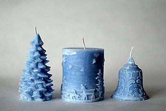 Svietidlá a sviečky - Sada vianočných sviec  (Modrá) - 10225807_