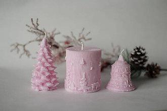 Svietidlá a sviečky - Sada vianočných sviec  (Ružová) - 10226040_