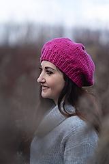 Čiapky - Baretka zimná - cyklámenová - 10227106_