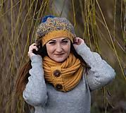 Čiapky - Baretka žlto - modrá - 10227366_