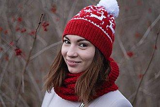 Čiapky - Čiapka červená s nórskym vzorom - 10227197_
