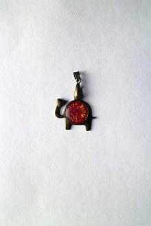 Náhrdelníky - Prívesok - Sloník pre šťastie   Červený   starobronz   LOVE - 10225818_