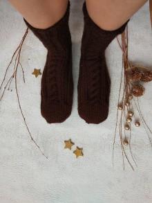 Obuv - Pánske pletené vlnené ponožky (hnedé) - 10223757_
